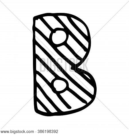 Vector Hand Drawn Letter B. Colorful English Abcs. Simple Typographic Design Of Latin Capital Letter