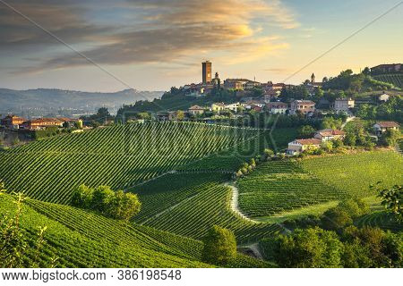 Barbaresco Village And Langhe Vineyards, Unesco Site, Piedmont, Northern Italy Europe.