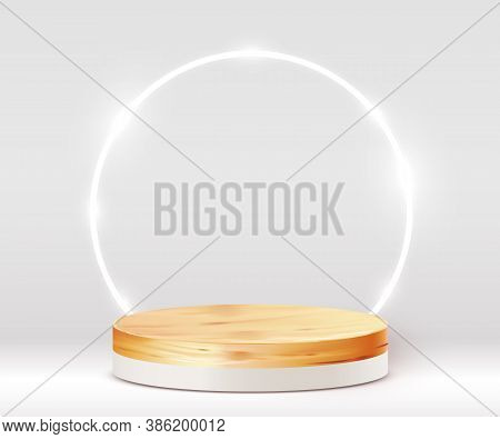 Abstract Scene Background. Cylinder Wood Podium On White Background. Product Presentation, Mock Up,