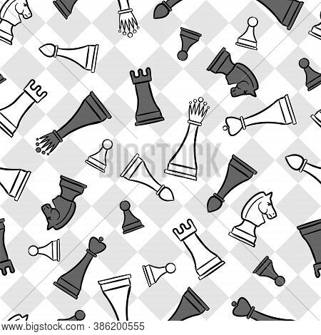 Seamless Chess Pattern. Vector Chess Background. Chess Board With Hand-drawn Figures.