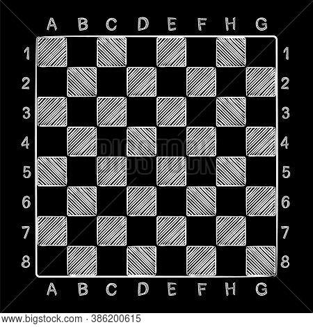 Chalk Chess Board. Chess Cells. Hand Drawn Checkerboard