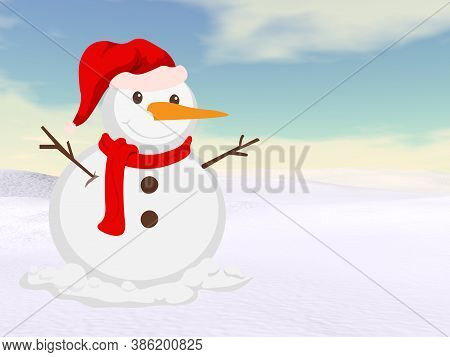 Christmas Snowman Standing In The Snow - 3d Render