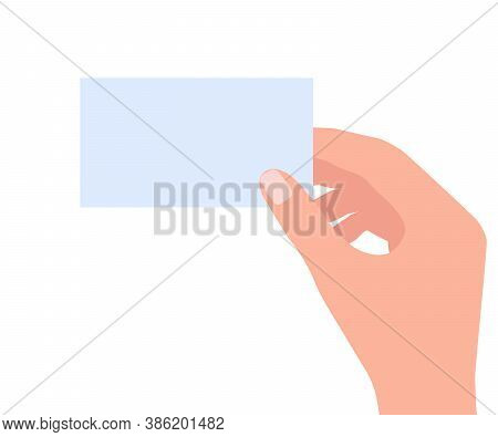 Blank Business Card In Human Hand. Empty Credit Card Template For Contact, Business Advertisement. P