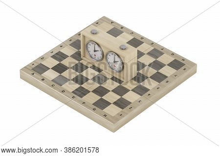 Wooden Chess Board And Analog Chess Clock On White Background. 3d Illustration
