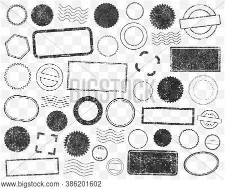 Stamps Frames Vector Icon Shape Set. Stamp Grunge Ink Rubber Labels Sign Collection. Isolated On Whi
