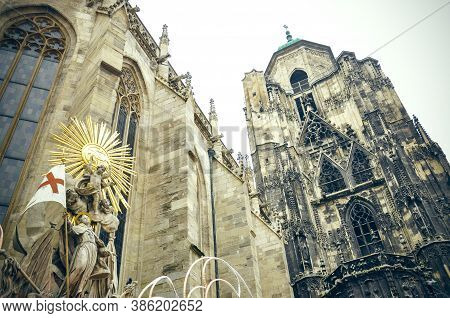 Wien, Austria - Stephansdom, St.stephens Cathedral In Stephansplatz. Details Of The Architecture And