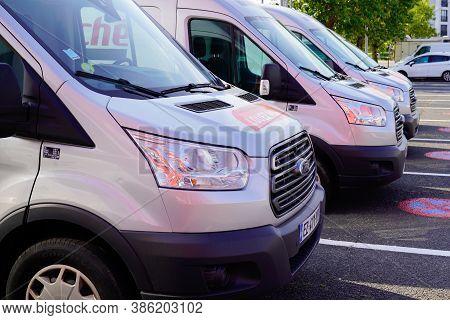 Bordeaux , Aquitaine / France - 09 15 2020 : Intermarche Location Sign Logo On Many Van Rental Truck