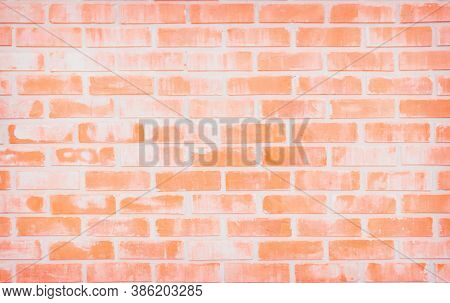 Background Of Wide Old Red Brick Wall Texture. Old Orange Brick Wall Concrete Or Stone Wall Textured