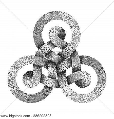Stippled Triquetra Knot Sign Made Of Two Interwoven Stripes. Modern Stylization Of Celtic Trinity Sy