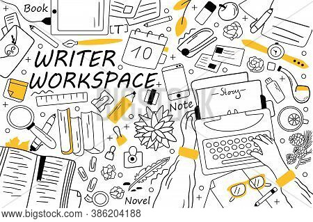 Writer Workspace Doodle Set. Collection Of Hand Drawn Sketches Templates Patterns Of Writing Equipme