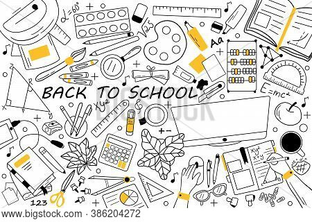Back To School Doodle Set. Collection Of Hand Drawn Sketches Templates Patterns Of Educational Equip