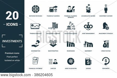 Investment Icon Set. Monochrome Sign Collection With Matching Revenues, Financial Planning, Financia