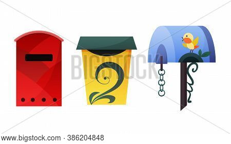 Mailbox. Mail Box Vector Post Or Postal Letterbox Of American Or European Mailing And Set Of Postbox
