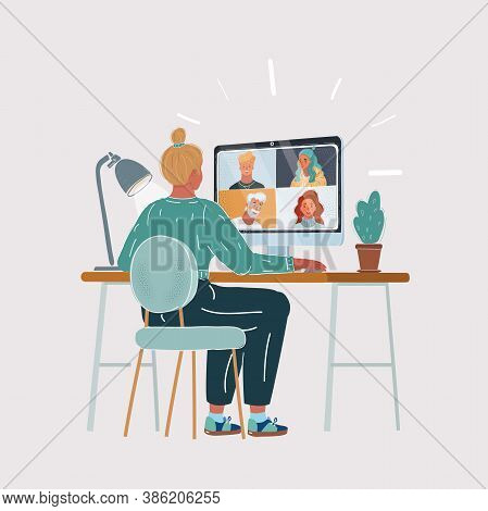 Vector Illustration Of Woman Sitting At Desk In Front Of Computer, Freelancer, Customer Representati
