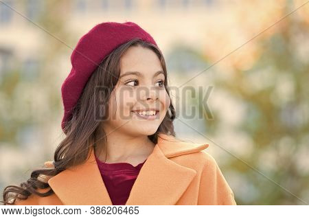 Always Love To Be Fashionable. Happy Parisian Girl In Beret. French Style. Autumn Fashion. School Fa