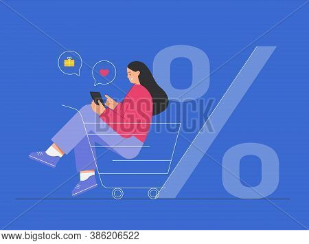 Woman Sitting In Cart And Shopping Online, Around Icons With Purchases. Big Discount, Gifts And Purc