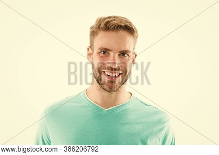 Give More Care For Bearded Hair. Bearded Man Isolated On White. Happy Bearded Guy. Unshaven Model Wi