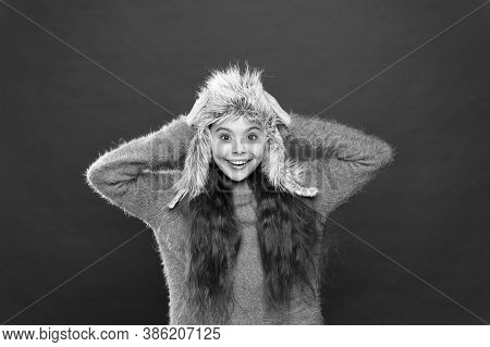 Warm Up Your Winter. Keeping Her Warm In Winter. Small Child Ready For Winter. Seasonal Health Care.