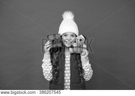 It Is Bargain. Mouse Symbol Of The Year. Cute Little Girl Hold Mouse Toy. Child Knitted Winter Cloth