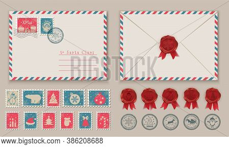 Christmas Envelope With Santa In Stamp And Postage Stamps, Snowman In Stamp. Vector Illustration
