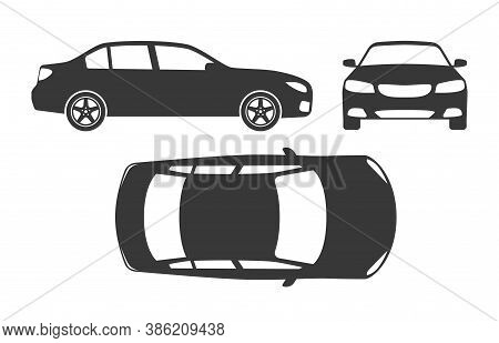Car Silhouette. Automobile Top, Side And Front View. Vehicle Projection Monochrome Mockup, Regular S
