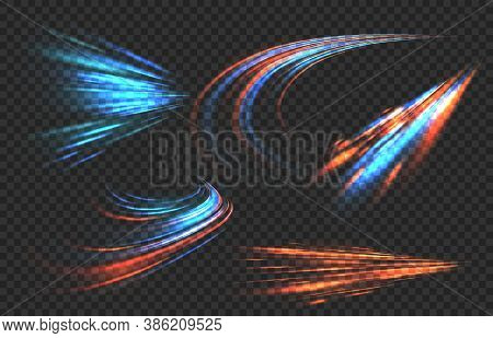 Light Motion Trails. High Speed Effect Motion Blur Night Lights In Blue And Red Colors, Futuristic A