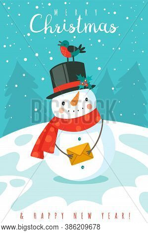 Snowman. Happy New Year And Merry Christmas Greeting Card With Cheerful Snowman In Hat And Scarf And