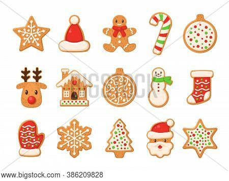 Gingerbread. Christmas Gingerbreads Santa And Cane, Xmas Tree, Ginger Cake Man, Snowflake, Snowman A