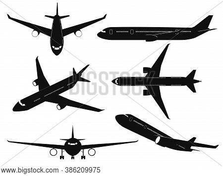Airplane Silhouettes. Passenger Aircraft In Different Angles, Flying Plane Top, Side And Front View.