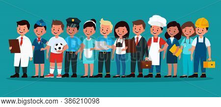 Kids Professional Group. Children Football Player, Builder And Policeman, Stewardess, Chef And Docto