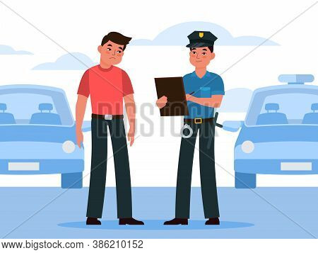 Policeman Write Fine. Police Officer In Uniform Writing Penalty To Automobile Driver Intruder, Viola