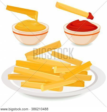 French Fries Potatoes On A Dish And Bowls With Dipping Sauces. Vector Illustration.