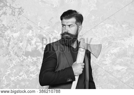 Seriously Bearded. Bearded Man Hold Axe. Unshaven Hipster With Bearded Face. Retro Barbershop. Shavi