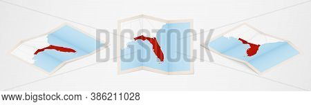 Folded Map Of Florida In Three Different Versions. Vector Map Of Florida.