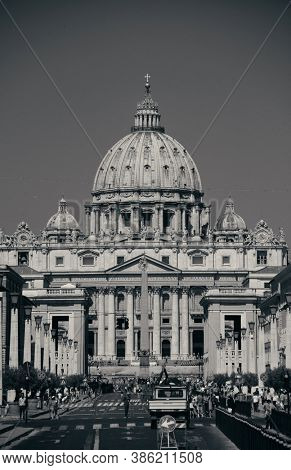 VATICAN CITY - JUN 5: Street view with St. Peters Basilica on June 5, 2016 in Vatican City. It is the smallest state in the world..