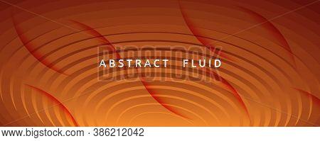 Vivid Fluid Flow. Yellow Dynamic Landing Page. 3d Abstract Shape. Business Pattern. Orange Fluid Flo