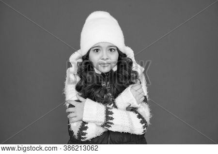Cold Weather. Child In Woolen Knitted Hat. Kids Tend To Feel Cold More Than Adults. Winter Fashion.