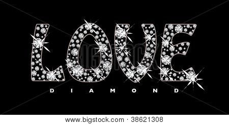Black background with diamonds in the shape of the word love