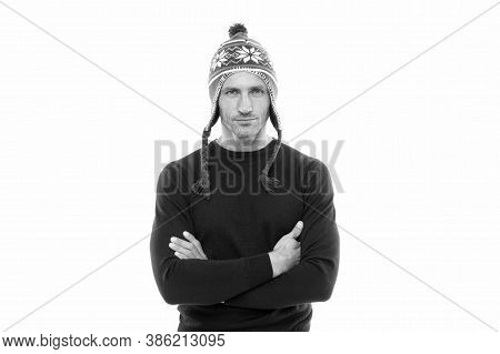 Confident And Focused. Best Wishes. Guy Wear Winter Hat. Merry Christmas And Happy New Year. Winter