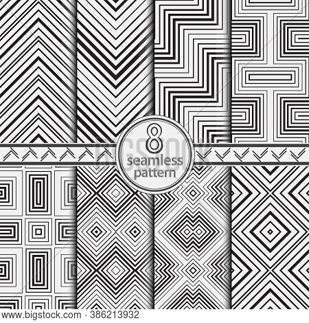 Seamless Set Of Vector Geometric Models. Modern Monochrome Texture. Abstract Background With Regular
