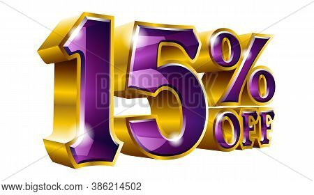 Vector 15% Off - Five Percent Off Discount Gold And Violet Sign.