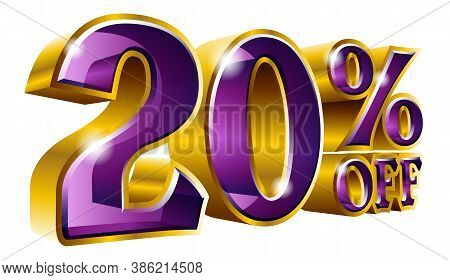 Vector 20% Off - Five Percent Off Discount Gold And Purple Sign.
