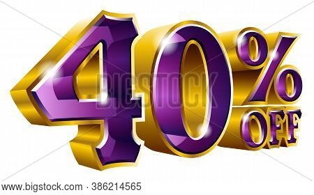 Vector 40% Off - Five Percent Off Discount Gold And Violet Sign.
