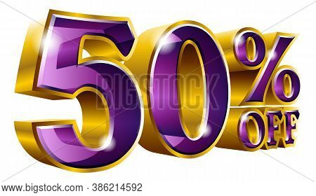 Vector 50% Off - Five Percent Off Discount Gold And Violet Sign.
