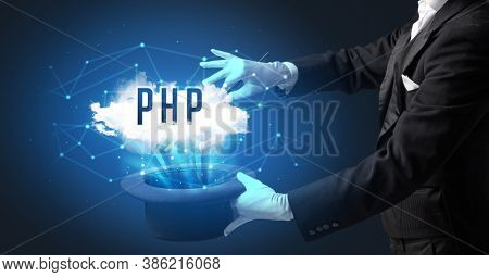 Magician is showing magic trick with PHP abbreviation, modern tech concept