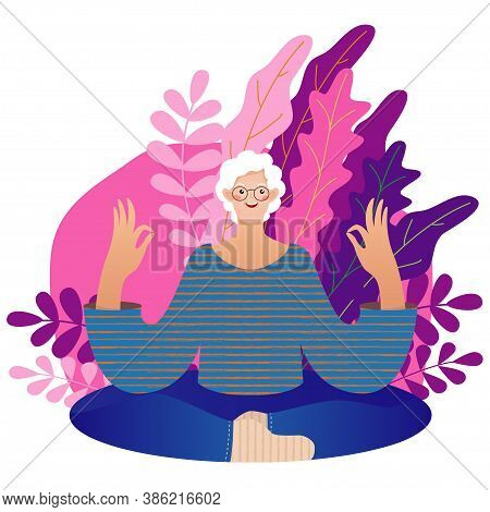 Senior Lady Vector Illustration In Flat Style. Elderly Woman Spends Time Outdoors.vector Illustratio
