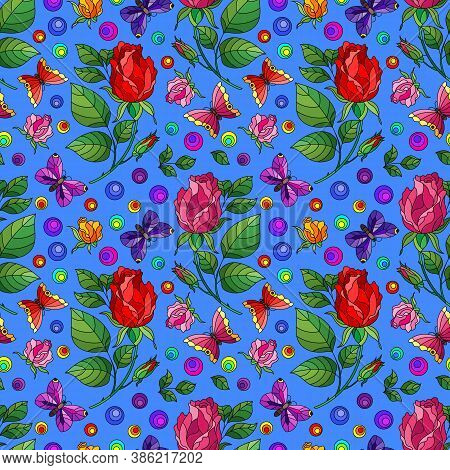 Seamless Pattern With Rose Flowers And Butterflies, Bright Flowers And Insects On A Blue Background