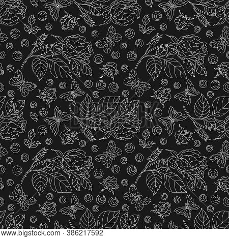 Seamless Pattern With Rose Flowers And Butterflies, Light Contour Flowers And Insects On A Dark Back