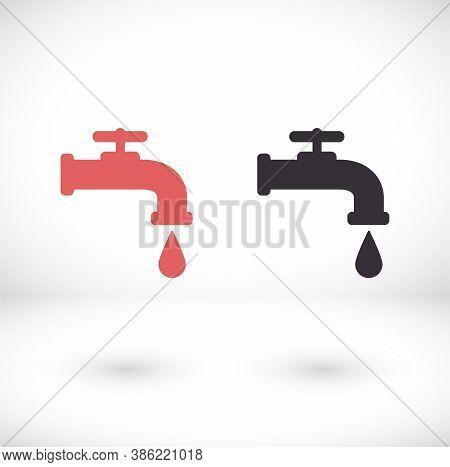 Vector Icon Faucet, Design Illustration For Web C Faucet. Flat Style Faucet.