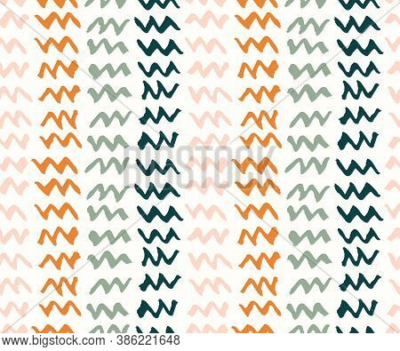 Zigzag Vertical Stripes Seamless Vector Pattern. Simple Zigzag Brush Strokes Stacked Up To Form Abst